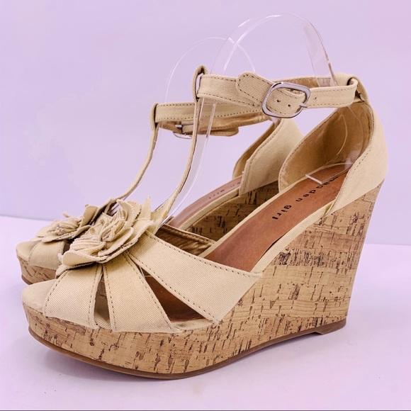 Kolasso Cork Wedge Peep Toe Sandals
